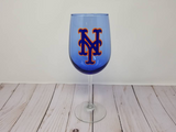 Yankees wine glass, Mets Wine glass, Baseball Fan, Yankees gift, Yankees fan