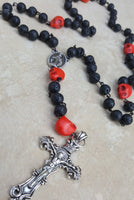 Memento Mori Skull Rosary wire wrapped necklace - CCCreationz