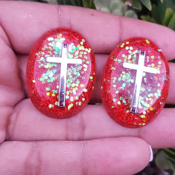 Have Faith Cross Resin Earrings (red glitter) - CCCreationz