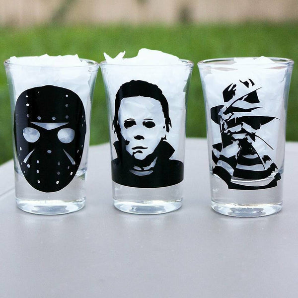 Horror Shot Glasses Set, Freddy Kruger, Jason, Micheal Myers, Horror Lover, Horror Movie - CCCreationz