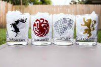Game of Thrones Rocks Glass set, Stark, Lannister, Targaryen, Baratheon, Game of Thrones Gift - CCCreationz