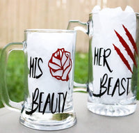 His Beauty Her Beast, Beer Mug, Couples Gift, Beauty and the Beast, Matching Disney, His Wild Beauty - CCCreationz