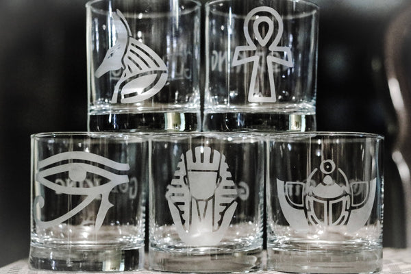 Egyptian Etched Glasses, Egyptian Scarab, Pharaoh, King, Eye of Horus, Ankh, Pyramid, Eye of Ra - CCCreationz