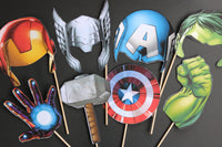 Avengers Photo Props, Birthday Favors, Super Hero, Iron Man, Thor - CCCreationz