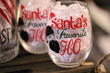 Santa's Favorite Ho wine glass - CCCreationz