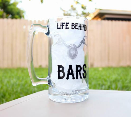 Life Behind Bars, Motorcycle, Biker Beer Mug, Biker Gift, Harley Davidson, Biker Chick, Gift for him - CCCreationz