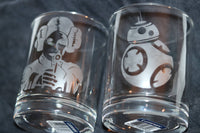 Star Wars Rocks Glass Set / Princess Leia and one with BB-8 - CCCreationz