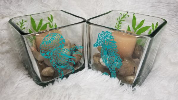 Sea Horse Candle Holder-Square, Octopus Candle, Under the Sea, Candle, beach theme decor - CCCreationz