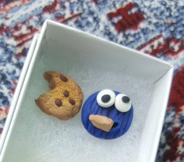 Cookie Monster earrings, Clay earrings, Cookie earrings, Disney Earrings - CCCreationz