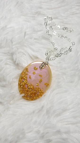 Pink Pendant, Resin Pendant, Bridal Jewelry, Bridesmaid Gift, Gold Pendant, Wedding gift - CCCreationz