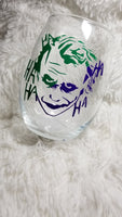 Joker, Joker wine glass, Custom wine glass, Clown, Gift for her, Comic Book, Super Hero - CCCreationz