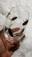 Prank Wine Glass, Cockroach, Bloody hands, Horror wine glass, Prank Gift, Halloween Wine Glass - CCCreationz