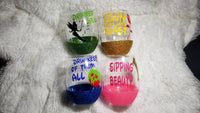 Disney Princess Wine glasses, Tinker Bell, Sleeping Beauty, Beauty and the Beast, Snow White - CCCreationz