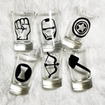 Marvel Set, Bar Glass Set, Iron man, Thor, Hulk, Captain America, Hawk, Black Widow, Super Hero - CCCreationz