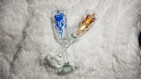 Buddha, Buddha glasses, Meditation, Relaxation, Kitchen decor, Couple Champagne, Wedding glasses - CCCreationz
