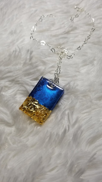 Blue Pendant, Resin Pendant, Bridal Jewelry, Bridesmaid Gift, Gold Pendant, Wedding gift - CCCreationz