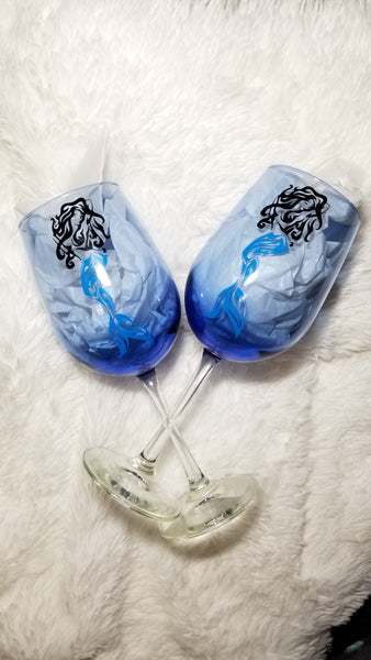 Custom wine glass, Mermaid, Personalized gift for her, Mother's Day Gift, Gift for Mom, Mermaid Gift - CCCreationz