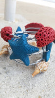 Under The Sea wire wrapped stack bracelets / star fish/ sea jewelry / sea shell - CCCreationz