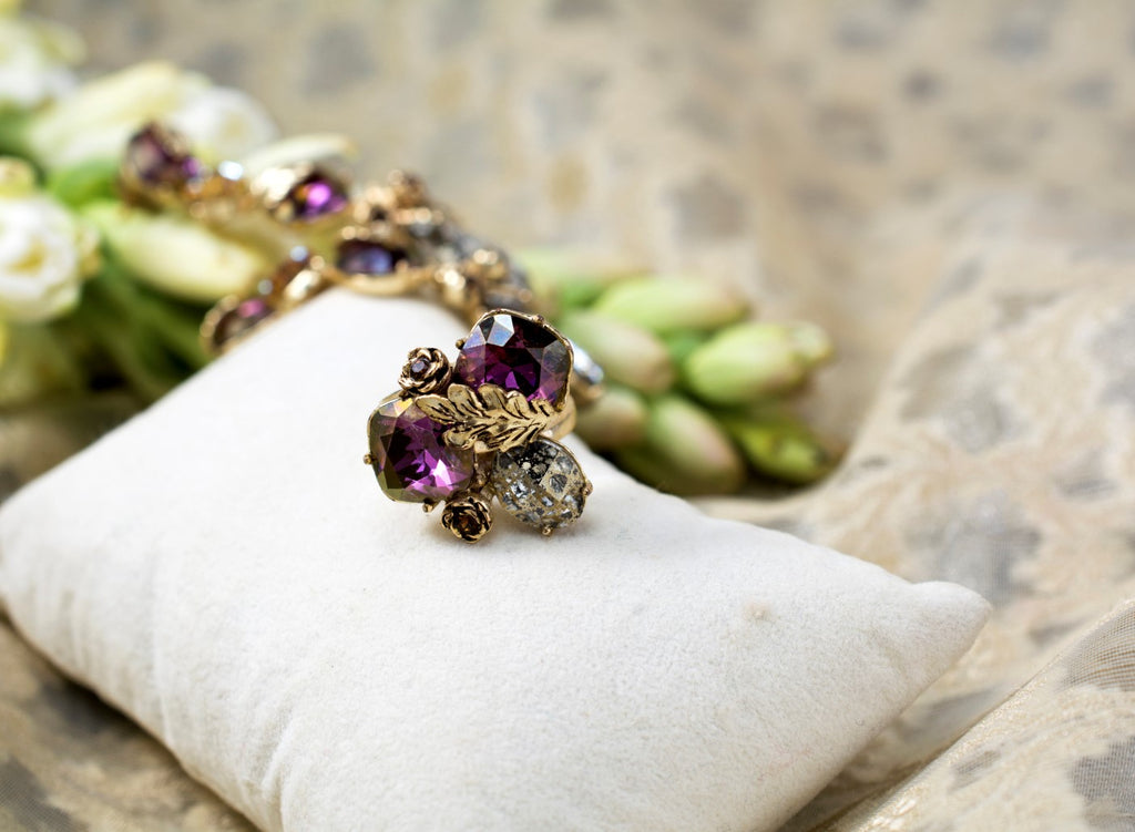 Plum & Gold Cocktail Ring