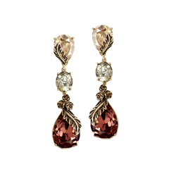 Wine & Gold Classic Long Earrings
