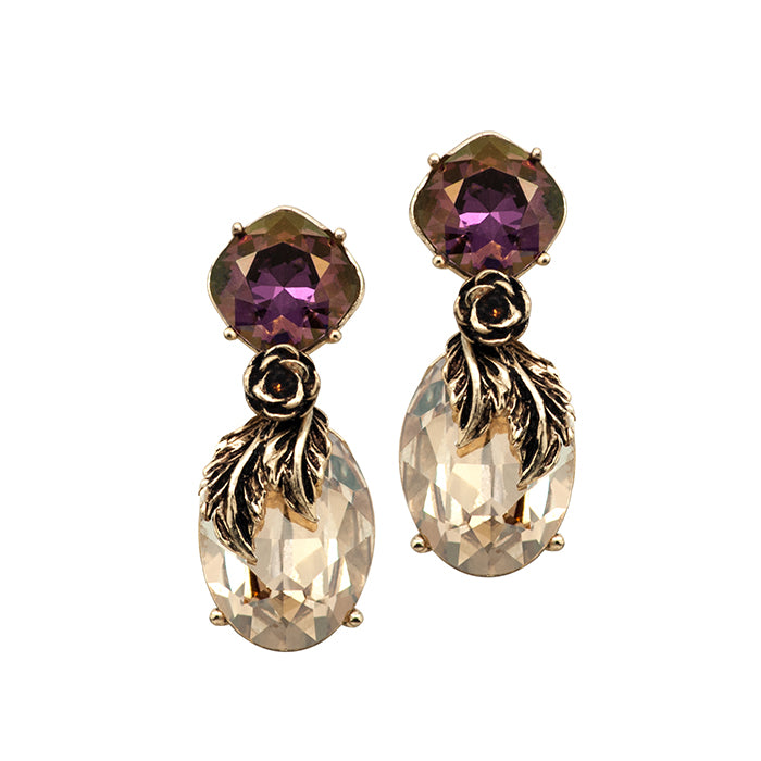 Gold & Plum Chic Earrings