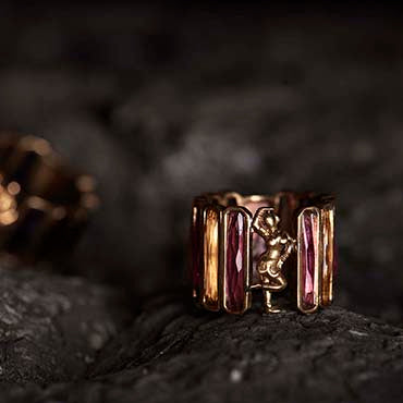 Mohini Gold and Pink Ring