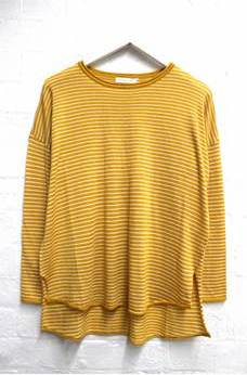 Chloe Stripe Basic Knit - Mustard & White