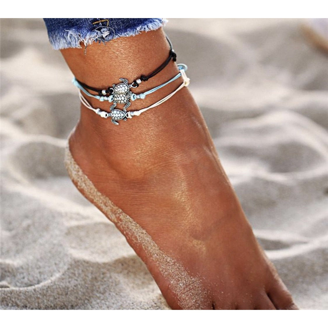 Sea Turtle Wax String Anklet