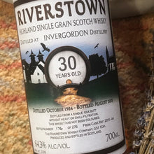 Load image into Gallery viewer, Riverstown Invergordon 30YO 1984