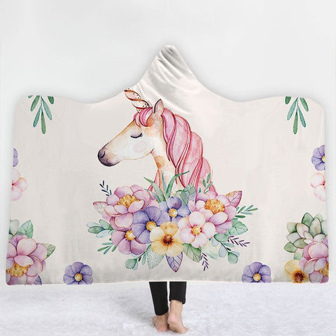 Unicorn Floral Hooded Blanket