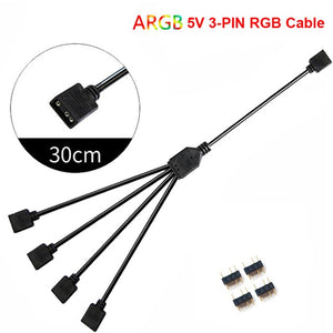 12V/4pin 5V/3-pin AURA RGB Extension Adapter Cable, Motherboard to 2 or 3 or 4 RGB Connectors