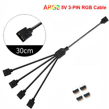 Load image into Gallery viewer, 12V/4pin 5V/3-pin AURA RGB Extension Adapter Cable, Motherboard to 2 or 3 or 4 RGB Connectors