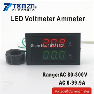 Dual LED display Voltage and current meter blue backlight range AC 80-300V 0-99.9A
