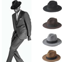 Load image into Gallery viewer, Wool Men's Felt Trilby Fedora Hat For Gentleman Wide Brim