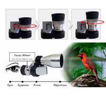 Load image into Gallery viewer, Mini 8X20 Silver Metal Pocket Monocular Telescope Eyepiece with 4X Magnifier or 30X Microscope