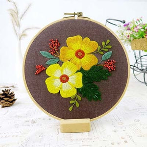 Chinese Floral Embroidery kits with or without Hoop