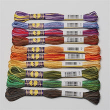 Load image into Gallery viewer, Variegated Cotton Embroidery Floss 6 strands  8 meters per skein DMC Colors in 3 Sets