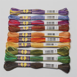 Variegated Cotton Embroidery Floss 6 strands  8 meters per skein DMC Colors in 3 Sets