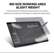 Load image into Gallery viewer, 10moons 1060Plus Graphic Tablet 10x6 Inch Digital Drawing Tablet 8192 Levels Battery-Free Pen and Glove