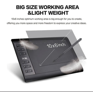 10moons 1060Plus Graphic Tablet 10x6 Inch Digital Drawing Tablet 8192 Levels Battery-Free Pen and Glove
