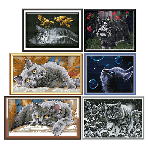 Cat at night cross stitch kit 11CT14CT