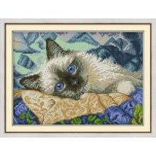 Load image into Gallery viewer, Blue Eyed Cat DIY Cross Stitch Kit