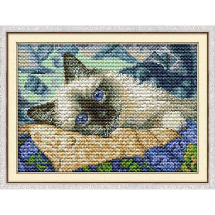 Blue Eyed Cat DIY Cross Stitch Kit