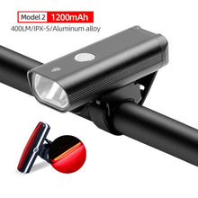 Load image into Gallery viewer, Headlamp and light combos For Bicycle USB Rechargeable 400 Lumen