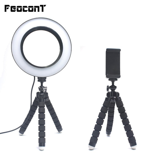 Ring Light Photographic Lighting with Octopus Tripod Phone clip