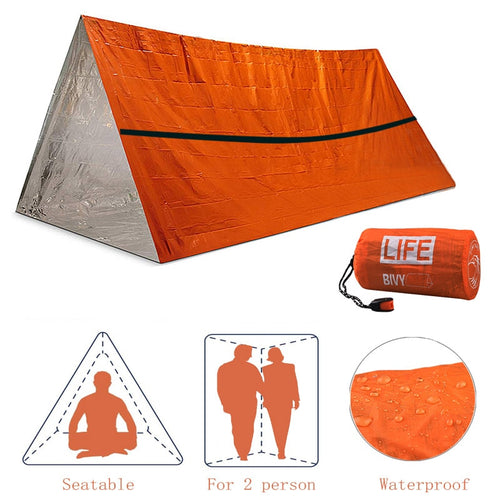Two Person Emergency Shelter Waterproof Emergency Tent with Whistle