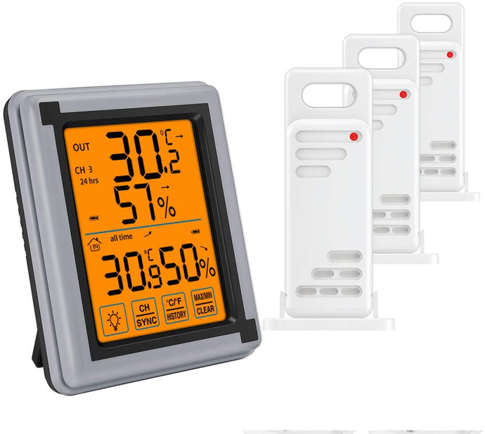 Wireless Thermometer Digital Hygrometer Indoor Outdoor three Sensor Monitor Touchscreen Backlight