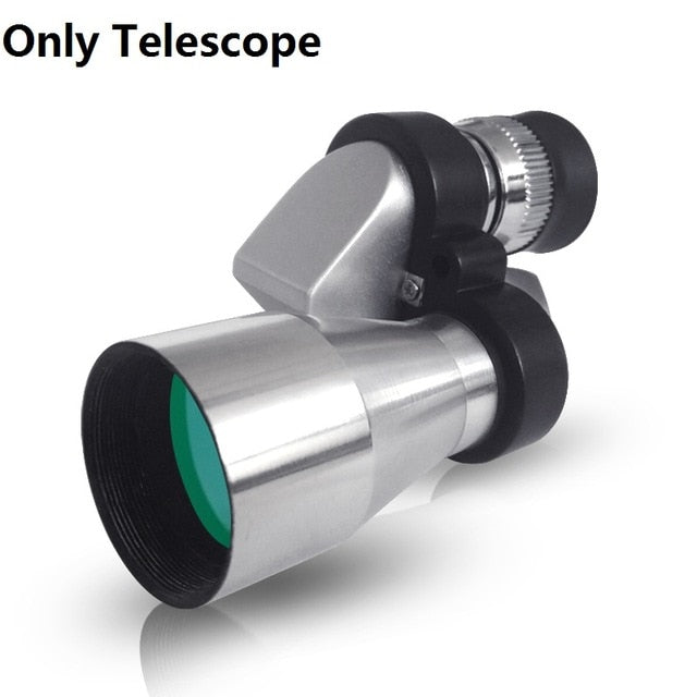 Mini 8X20 Silver Metal Pocket Monocular Telescope Eyepiece with 4X Magnifier or 30X Microscope