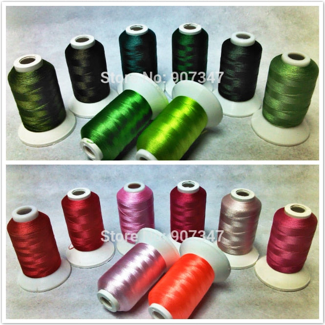 Polyester Machine Embroidery Thread - 8 spools (500 yd  ea) green, and