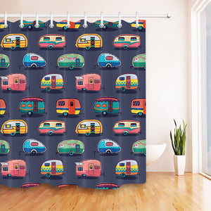 Camper Vehicles Vans Caravans Shower Curtain Waterproof Mildew Resistant Polyester 12 Hooks